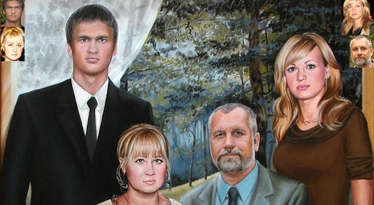 Семейная картина на холсте