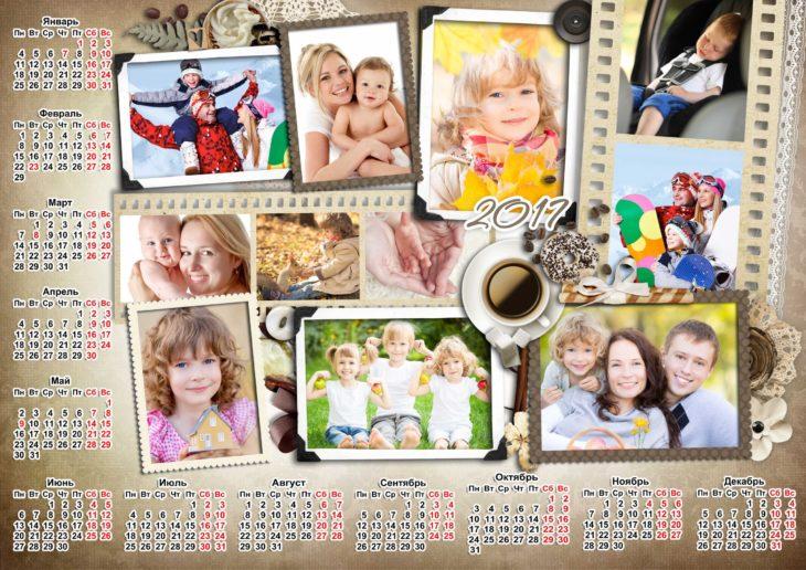 фотоколлаж с календарем
